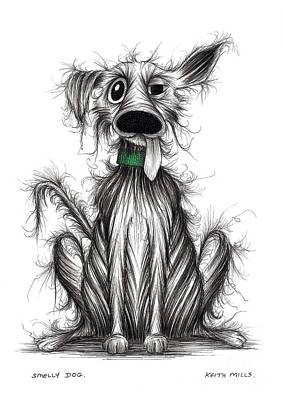 Mutt Drawing - Smelly Dog by Keith Mills