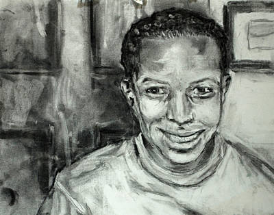 Looking At Camera Drawing - Smile For A Picture by J Val