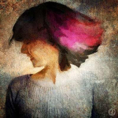 Girl Profile Digital Art - Smile by Gun Legler