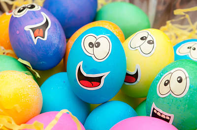 Photograph - Smiley Easter Eggs In A Holiday Basket Arrangement by Alex Grichenko