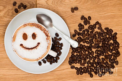 Smiley Face Coffee Print by Amanda Elwell