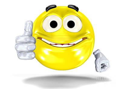 Button Digital Art - Smiley Face Showing Ok Sign by Michal Bednarek