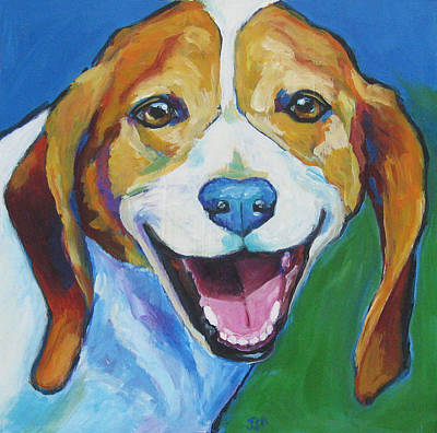 Painting - Smiling Beagle - Charlie by Janet Burt