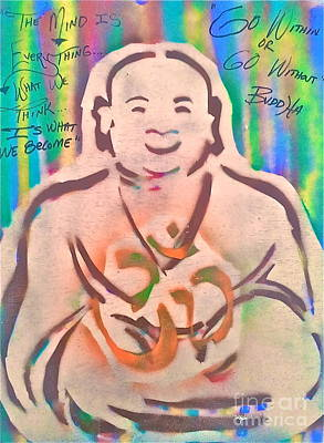 Smiling Brown Buddha  Art Print by Tony B Conscious