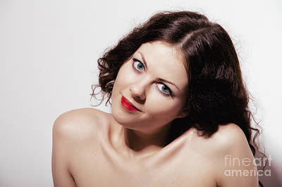 Smiling Girl With Naked Shoulders Print by Aleksey Tugolukov