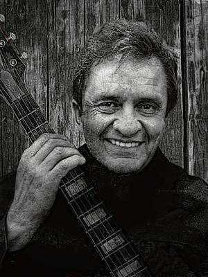 Music Digital Art - Smiling Johnny Cash by Daniel Hagerman