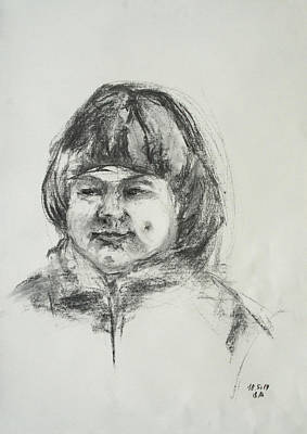 Drawing - Smiling Little Girl With Dimples by Barbara Pommerenke