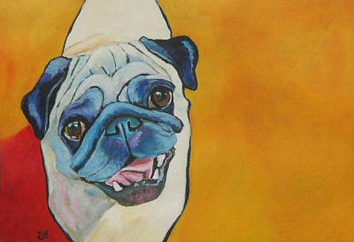 Painting - Smiling Pug - Henry by Janet Burt