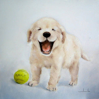 Painting - Smiling Puppy Nursery Art by Junko Van Norman