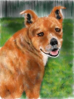 Boxer Dog Digital Art - Smiling Red Dog by Lois Ivancin Tavaf