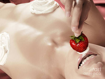 Smiling Sexy Nude Woman Eating Strawberry With Cream Art Print