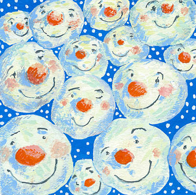 Winter Fun Painting - Smiling Snowballs by David Cooke