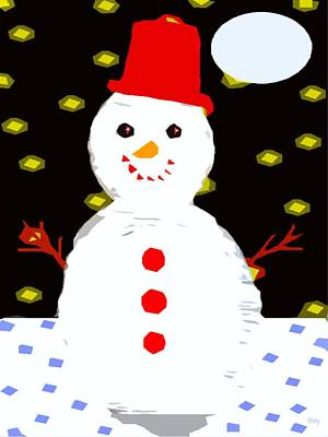 Smiling Snowman Art Print by Patrick J Murphy