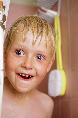 Shower Head Photograph - Smiling Wide-eyed Boy Sticking His Wet by Vintage Images