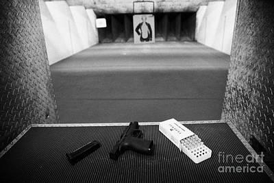 Smith And Wesson 9mm Handgun With Ammunition At A Gun Range In Florida Art Print by Joe Fox