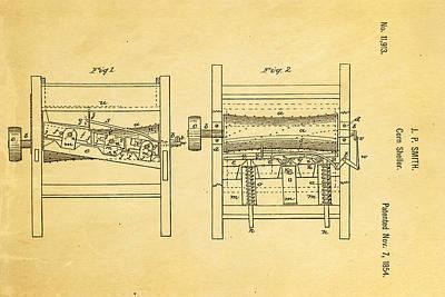 Smith Corn Sheller Patent Art 1854 Art Print by Ian Monk