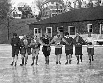 Ice Skating Photograph - Smith Girls Skate On Paradise Pond by Underwood Archives