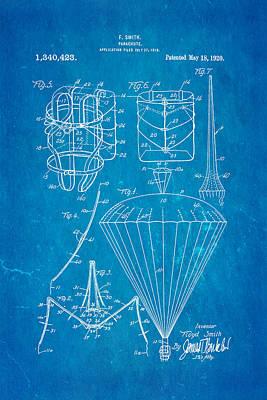 Smith Parachute Patent Art 1920 Blueprint Art Print by Ian Monk