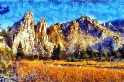 Digital Art - Smith Rock Cliffs by Kaylee Mason
