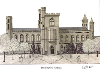 Smithsonian Museum Drawing - Smithsonian Castle by Frederic Kohli