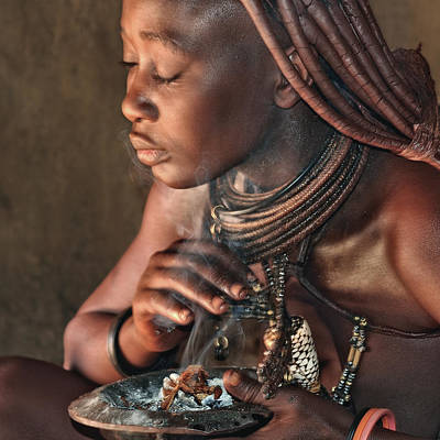 Tribal Photograph - Smoke Bath In The Hut by Piet Flour