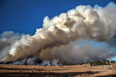 Photograph - Smoke Column From The Norbeck Prescribed Fire. by Bill Gabbert