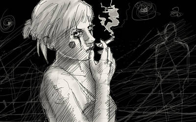 Thoughtful Drawing - Smoke by H James Hoff