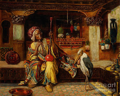 Hookah Painting - Smoker With Hookah And Marabou by Celestial Images