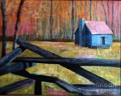 Smokey Mounain Cabin Art Print by Rebecca Myers