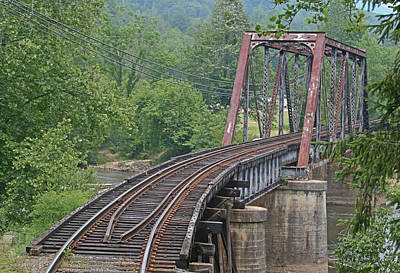 Photograph - Smokey Mountain Railroad Steel Girder Bridge by John Black