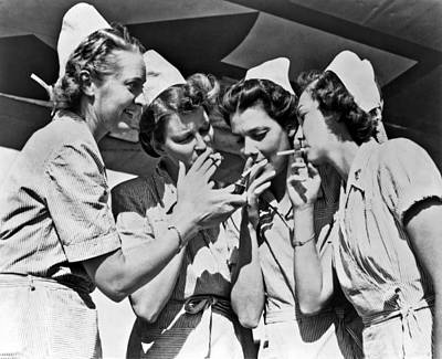 Smoking Army Nurses Art Print by Underwood Archives