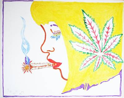 Print featuring the painting Smoking Blonde by Stormm Bradshaw