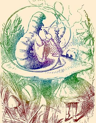 Drawing - Smoking Caterpillar Alice In Wonderland by