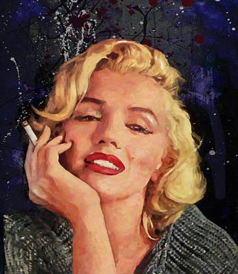 1950 Movies Painting - Smoking Marilyn by John Farr