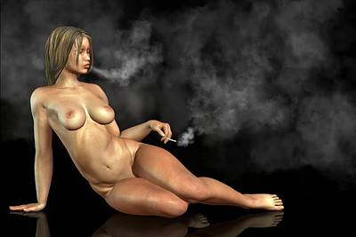 Digital Art - Smoking Nude by Kaylee Mason