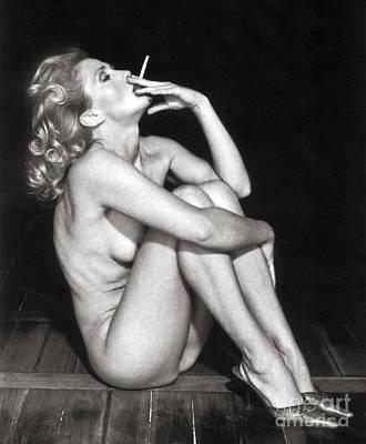 Smoking Nude  Art Print
