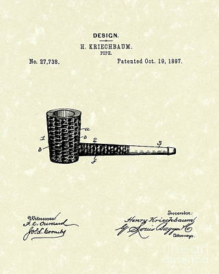Drawing - Smoking Pipe 1897 Patent Art  by Prior Art Design