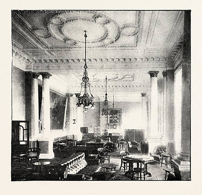 Historic Home Drawing - Smoking Room At The Junior Constitutional Club by English School