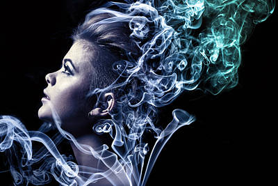 Head Shot Photograph - Smoking by Samuel Whitton