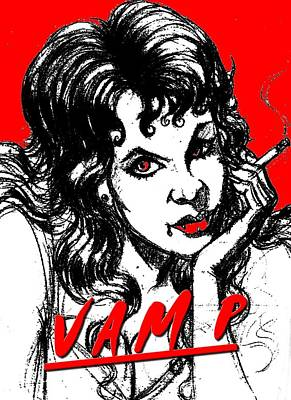 Hammer Mixed Media - Smoking Vamp by Jack Joya