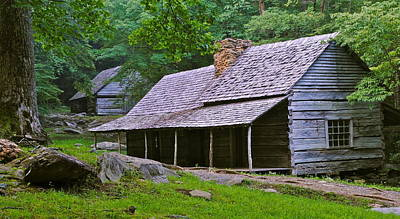 Smoky Mountain Cabins Art Print by Frozen in Time Fine Art Photography