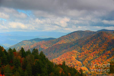 Photograph - Smoky Mountain Fall Storm Over The Gap by Nature Scapes Fine Art