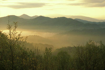 Photograph - Smoky Mountain Foggy Sunrise by John Burk