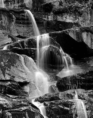 Photograph - Smoky Mountain Ramsays Cascades Black And White by Nature Scapes Fine Art