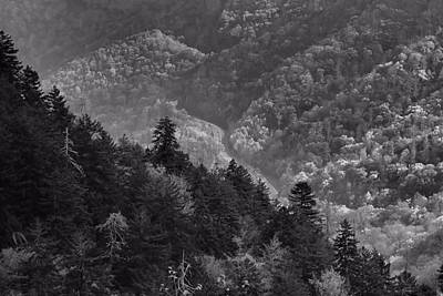 Smoky Mountain View Black And White Art Print by Dan Sproul