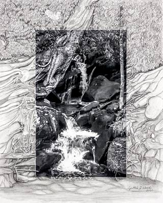 Pencil Drawing Waterfall Photograph - Smoky Mountain Waterfall by Cynthia Woods