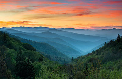 Sunset Photograph - Smoky Mountains Sunrise - Great Smoky Mountains National Park by Dave Allen