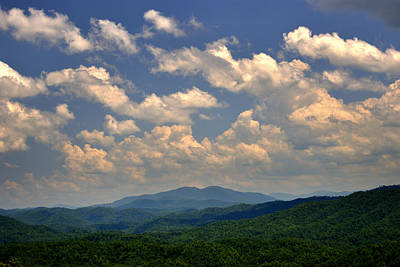 Smoky Peaks And Sky Art Print