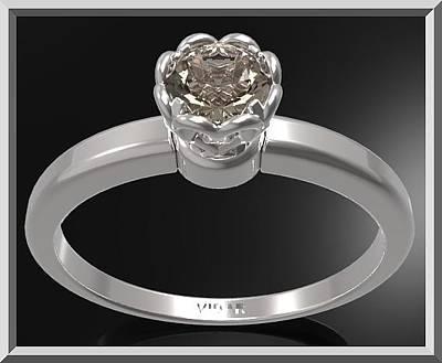 Custom Engagement Ring Jewelry - Smoky Quartz Sterling Silver Engagement Ring - Delicate Flower Ring by Roi Avidar