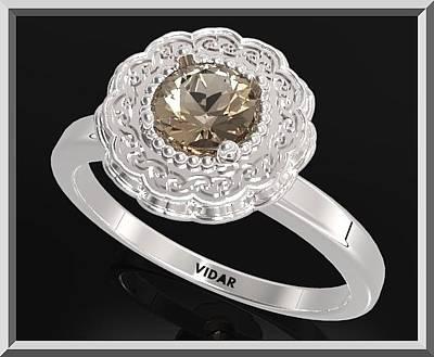 Custom Engagement Ring Jewelry - Smoky Quartz Sterling Silver Engagement Ring - Statement Flower Ring by Roi Avidar